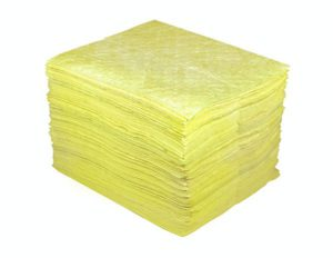"50101 15"" x 18"" HAZMAT ABSORBENT PAD - Yellow, 100/bag - F5982"