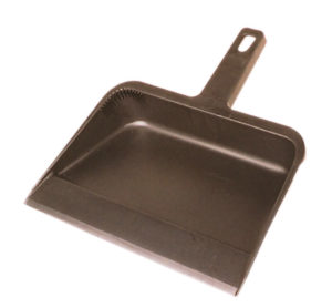 "12"" BLACK PLASTIC DUST PAN (12/case) - G7204"
