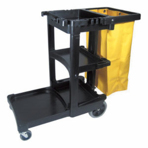 RUBBERMAID JANITORS CART w/YELLOW VINYL BAG - Black - G7464