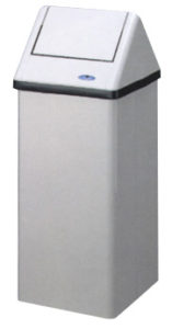 FREE STANDING HD WASTE RECEPTACLE w/ SWING LID, STAINLESS STEEL - M9896