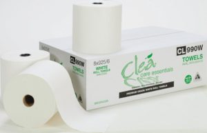 "CL990W Cle 8"" PREMIUM WHITE CONTROLLED-USE HAND TOWEL - 925', 6/case - P0501"