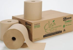 "CL980N Cle 8"" PREMIUM NATURAL CONTROLLED-USE HAND TOWEL - 925', 6/case - P0503"