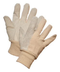 8 oz COTTON GLOVE w/LEATHER PALM & KNIT WRIST, 12pairs/package - S4017