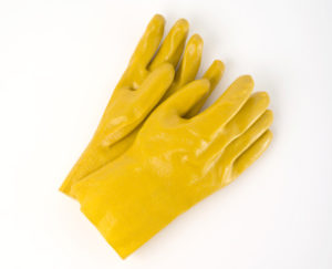 "14"" YELLOW PVC COATED GLOVE - 1Dzn. pr./pkg., 120 prs./cs. - S4150"
