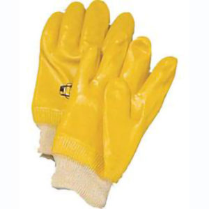 YELLOW PVC COATED GLOVE w/KNIT WRIST - S4152