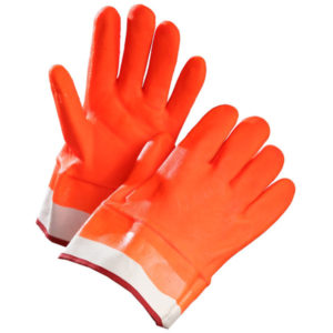 FOAM INSULATED ORANGE PVC GLOVES w/ SAFETY CUFF - 1Dzn. pr./pkg., 72 prs./cs. - S4155