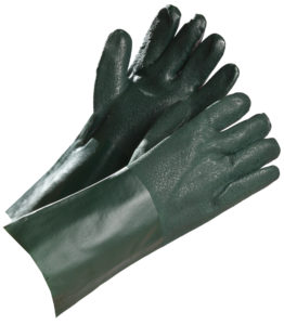 "14"" GREEN DOUBLE DIP PVC COATED GLOVE - S4156"