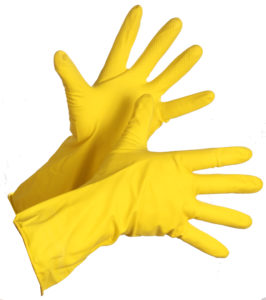 "12"" YELLOW FLOCK LINED LATEX GLOVE - LARGE, 12pairs/package - S4186"