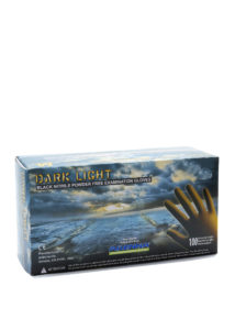 DARKLIGH 9mil BLACK PF NITRILE GLOVES, MEDIUM - 100/box (10/case) - S4358