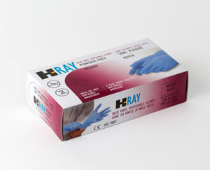 H-RAY BLUE PF VINYL EXAM GLOVES, MEDIUM - 100/box, 10/case - S4381