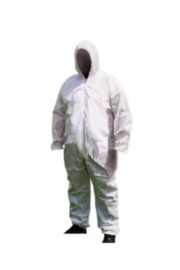 HD WHITE DISPOSABLE COVERALL w/HOOD - LARGE (25/case) - S4701-L