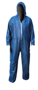HD BLUE DISPOSABLE COVERALL w/HOOD - LARGE (25/case) - S4702-L