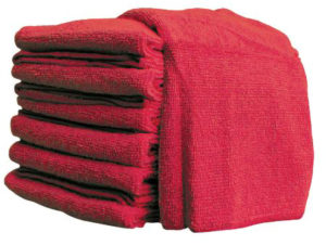 "16"" x 16"" RED MICROFIBRE TOWEL (10/pkg, 20pkg/case) - W10617"