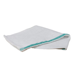 "16"" x 19"" WHITE BAR TOWEL w/GREEN STRIPE - W17205"