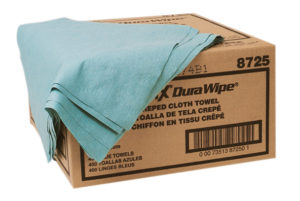 8725 BLUE DURAWIPE CREPED TOWEL, 400/case - W2601