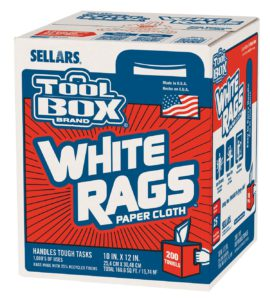 58202 TOOL BOX Z400 WHITE CENTER PULL WIPER RAGS - 200/box (6 boxes/case) - W2629