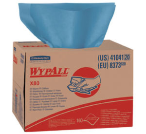 41041 WYPALL X80 BLUE WIPER TOWELS  BRAG BOX - 160/case - W2643