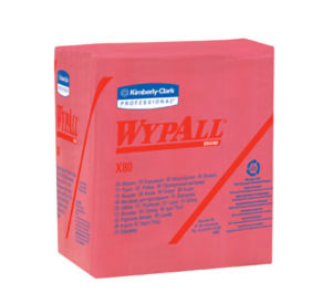 41029 WYPALL X80 1/4 FOLD RED WIPER TOWELS, 200/cs - W2644