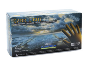 DARKLIGH 9mil BLACK PF NITRILE GLOVES, LARGE - 100/box (10/case) - S4359